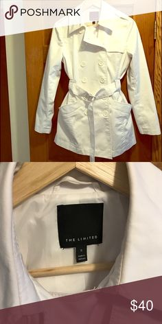 The Limited White Spring Coat Perfect Spring coat!  From The Limited, size small, excellent condition, worn very few times. Cotton and polyester. The Limited Jackets & Coats
