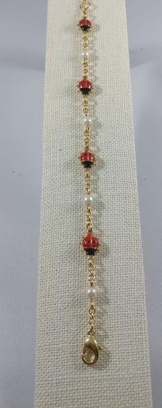 Yellow Gold Ladybug Bracelet, Beautiful Gold Tone Bracelet Red Ladybugs  With Black Spots, Pearls