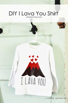 This is DIY I Lava You Shirt is great for Valentine& Day for boys and girls. Diy Valentine's Shirts, Vinyl Shirts, Diy Shirt, Shirts For Girls, Disney Valentines, Valentines For Boys, Valentines Day Shirts, Valentine Stuff, Disney Diy