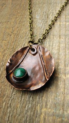 Copper pendant with bezel box stone