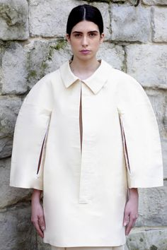 Sculptural Fashion - shirt dress with strong lines, rounded silhouette and elongated placket - shape and structure; 3D fashion // fashion student work, CSM