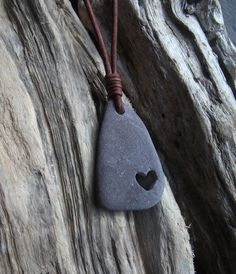 Scottish Sea Slate Pebble Carved Heart Necklace by byNaturesDesign, $15.00