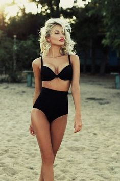 Vintage style with a twist. love this bathing suit. #vintage #highwaist #bkini #bathingsuit #summer #swimsuit #throwback #60s #black