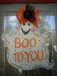 Happy Halloween Ghost Door hanger by samthecrafter on Etsy, $35.00