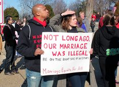 """Not long ago, our marriage was illegal. Be on the right side of history['s justice progress.] Marriage Equality For All."""