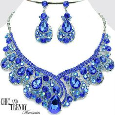 BLUE AURORA BOREALIS CHUNKY CRYSTAL PROM WEDDING FORMAL NECKLACE JEWELRY SET #Unbranded