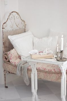 vintage french bed and linens