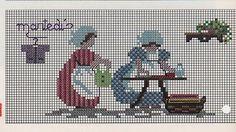 0 point de croix femmes au repassage - cross stitch women ironing