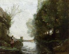 Le cours d'eau a la tour carree, Jean Baptiste Camille Corot oil painting reproduction for sale - www.chinaoilpaintinggallery.com
