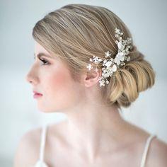 Novia pelo peine, accesorio del pelo de la boda de playa, cristal peinetón, pedazo principal de la boda