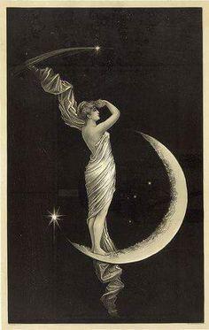 la luna - From an original century (June illustration… Vintage Moon, Vintage Paper, Vintage Art, Paper Moon, Alphonse Mucha, Moon Goddess, Goddess Art, Moon Art, Pics Art