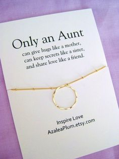 Aunt Gift Gold Necklace Birthday Gifts For