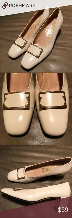 Ferragamo Block Heel Shoes Signature Buckle 8.5AA Beautiful shoes in excellent condition except for a scrape on the front as pictured. If I were to keep them I'd pick up ivory shoe cream or have my shoe guy polish. That said, definitely wearable and otherwise tight. Size 8 1/2 AA. Ferragamo Shoes Heels