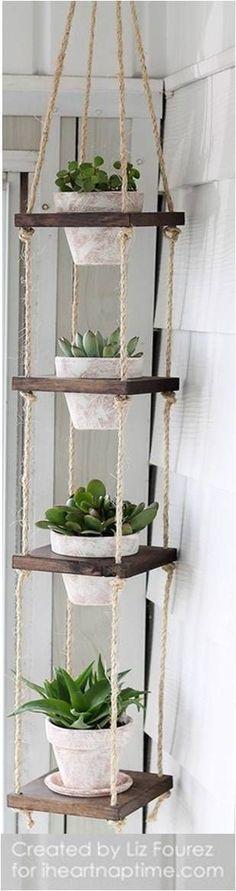 DIY Vertical Plant Hanger - I Heart Nap Time #DIYHomeDecorArt