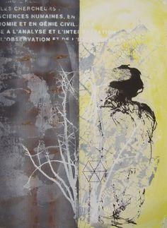 MAN AND TREE 60x80cm Silkscreen prints and ecodyed fabric Helena Sellergren