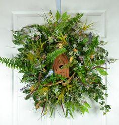 Birdhouse Summer Door Wreath  Front Door Wreath with