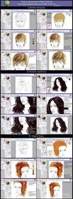 How to draw hair in Paint Tool Sai  (Tutorial) by Kajenna.deviantart.com on @deviantART