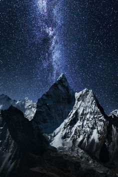 Found this excellent picture of a Mountain in Nepal (I'm guessing it is Mt. Everest) although it seems to be edited.
