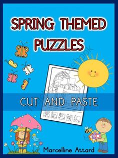 SPRING THEMED PUZZLES - CUT AND PASTE THE MISSING PIECES
