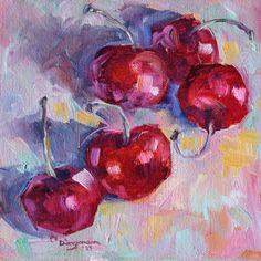 """Five Cherries"" - Original Fine Art for Sale - © Carlene Dingman Atwater"