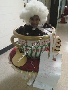 Homemade Hot Cocoa for Santa Halloween Costume Idea: My granddaughter was competing in a Christmas Pageant and needed a Christmas costume.  I had a homemade Hot Cocoa for Santa Halloween costume idea.  It