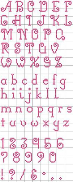 """Free """"Curly-Q"""" Alphabet pattern. I like the lower case alphabet. Cross Stitch Alphabet Patterns, Embroidery Alphabet, Cross Stitch Letters, Cross Stitch Designs, Embroidery Patterns, Cross Stitch Font, Cross Stitch Numbers, Loom Patterns, Cross Stitching"""