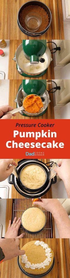 Pressure Cooker Pumpkin Cheesecake - Step by Step Tower | DadCooksDinner.com