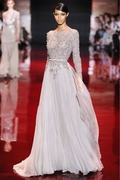 2013 Autumn/Winter Elie Saab Dress Long Sleeves Full Beaded 30D Chiffon elegant Formal Cheap evening dresses $199.00