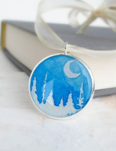 Snowy Woods Winter Decor  Christmas Ornament by SarahLambertCook, could do something like this with small embroidery hoops