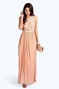 Boutique Zaynah Metallic Lace Detail Chiffon Maxi Dress