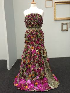 Floral dress made of flowers! This may be our favorite. Daisy Ellen Burgoyne from Flowers at Frosts placed Gold with this design.
