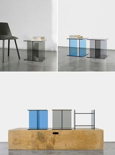 VIER coloured glass side tables by Glass Furniture, New Furniture, Table Furniture, Glass Side Tables, Coloured Glass, Nesting Tables, Console Table, Arch, Interior Design