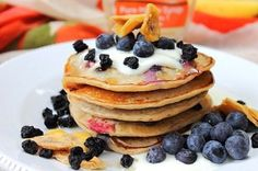 Vegan Banana Blueberry Buckwheat Pancakes by Peachy Palate