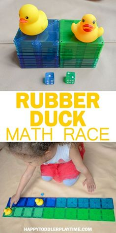 Rubber Duck Math Race - HAPPY TODDLER PLAYTIME - - Looking for an easy to set up math game for your preschooler or kindergartner? Check out this fun counting game using rubber ducks and magnetic tiles! Fun Math Activities, Toddler Learning Activities, Preschool Learning Activities, Preschool Lessons, Preschool Classroom, Kindergarten Math Games, Preschool Education, Preschool Letters, Alphabet Activities