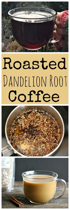 "Learn how to make this tasty and healthy roasted dandelion root ""coffee""! It's delicious with the addition of chicory root and cinnamon. Real Food Recipes, Yummy Food, Healthy Recipes, Dandelion Coffee, Dandelion Recipes, Chicory Root, Coffee Recipes, Herbal Coffee Recipe, Gourmet"