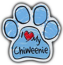 I LOVE MY CHIWEENIE (chihuahua and dachshund)pink SCRIBBLE CAR PAW MAGNET (also available in blue) Let other drivers know and show your love of your fur babies. These are made of durable UV and Water resistant Vinyl on strong magnet. Maltipoo, Goldendoodle, Yorkies, Pomeranian, Shih Tzu, Dachshund, Min Pins, Dog Car, Trucks