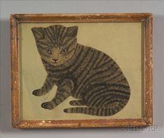 American School, 19th Century Portrait of a Gray Tabby Cat.