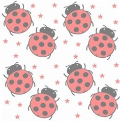 Large red ladybugs on a faded white background with red stars.