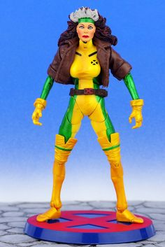"Marvel Legends Jim Lee X-Men ROGUE 6"" Action Figure + BASE Toy Biz 2003 Complete #ToyBiz"