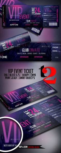 Vector illustration of a set of colorful concert ticket templates - make your own concert tickets