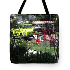 """Coronado Street Transportation Tote Bag by Sharon French (18"""" x 18"""").  The tote bag is machine washable, available in three different sizes, and includes a black strap for easy carrying on your shoulder.  All totes are available for worldwide shipping and include a money-back guarantee."""