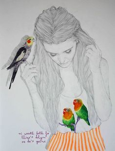 girl with colorful bird