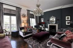 Grey and plum drawing room