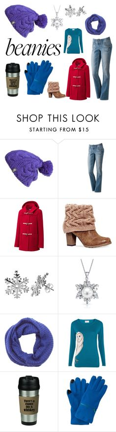 """""""Hat Head: Pompom Beanies"""" by erinavalin ❤ liked on Polyvore featuring The North Face, Uniqlo, Muk Luks, Bling Jewelry, LA77, Poem, wrapupwarm and pompombeanies"""