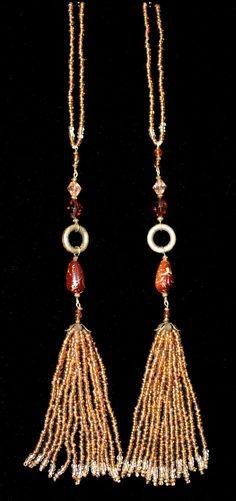 BEADED TASSELS  Topaz Copper Brown  beads by GMBDesignsCustom, $29.00
