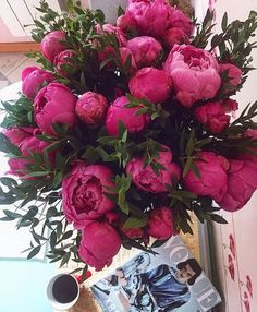 The most GORGEOUS bouquet of hot pink Peonies! Peony bouquet of my dreams! Peonies Bouquet, Pink Peonies, Bouquets, Ranunculus, Yellow Roses, Pink Roses, My Flower, Pretty Flowers, Fresh Flowers