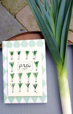 Handmade postcard 'Leek' with seeds door XantheCS op Etsy