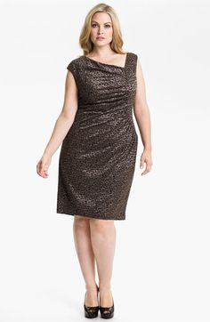 Adrianna Papell Side Ruched Metallic Sheath Dress (Plus) available at #Nordstrom