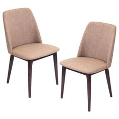 These elegant and contemporary chairs feature solid wood construction legs and an upholstered fabric seat with padding for comfort.