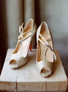 Gold, sparkly Louboutins.   Read more - http://www.stylemepretty.com/wyoming-weddings/jackson-hole/2014/01/16/jackson-hole-wedding-at-hotel-terra/